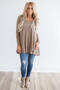 Long Sleeve Layered Flare Tunic - Heather Mocha