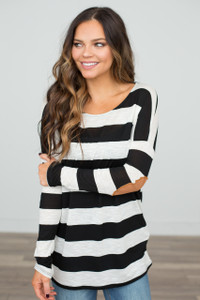 Elbow Patch Nautical Stripe Tunic - Black/Heather Ivory- FINAL SALE
