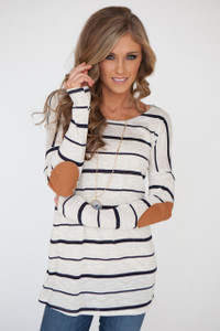 Long Sleeve Elbow Patch Stripe Tunic - Heather Oatmeal/Dark Navy