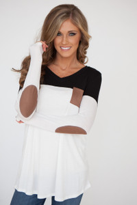 Color Block Tunic With Elbow Patch - Black/White