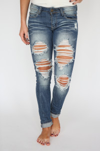 Destroyed Skinny Jeans - Medium Wash