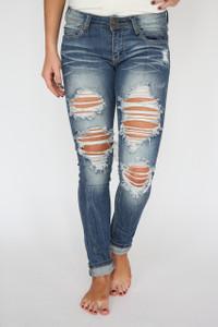 Destroyed Skinny Jeans - Medium Wash