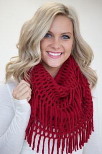 Snow Day Infinity Fringe Scarf - Red - FINAL SALE