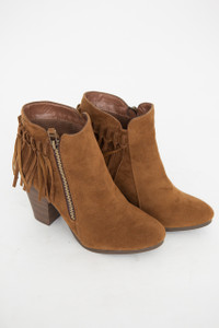 Going Global Fringe Back Booties - Tan