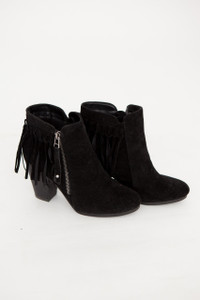 Going Global Fringe Back Booties - Black