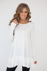 Nightcap Ruffle Hem Tunic - Off White