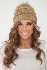 Pom Knit Beanie - Camel - FINAL SALE