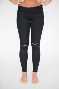 Knee Slit Skinny Jeans - Black