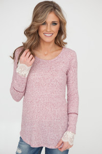 Kensley Lace Cuff Thermal - Burgundy/White