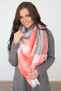 Plaid Blanket Scarf - Coral/Grey/Ivory