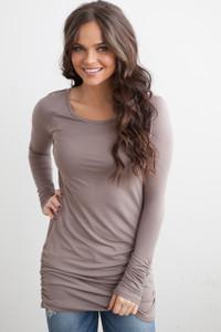 Long Sleeve Ruched Knit Tunic - Mocha