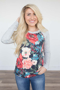 Floral Breeze Printed Pullover - Heather Grey