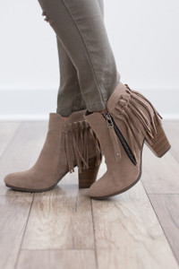 Going Global Fringe Back Booties - Beige