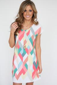 Kaleidoscope Print Short Sleeve Dress - Coral Multi