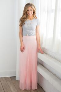 Pleated Maxi Skirt - Light Pink