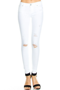 Distressed Skinny Jeans - White