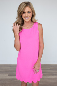 Sleeveless It Girl Solid Scalloped Woven Shift Dress - Hot Pink