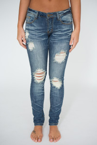 Whiskered Distressed Skinny Jeans - Medium Wash