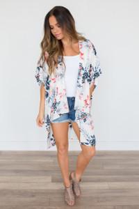 Honolulu Floral Print Kimono - Ivory Multi