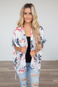 Honolulu Floral Print Kimono - Ivory Multi - FINAL SALE
