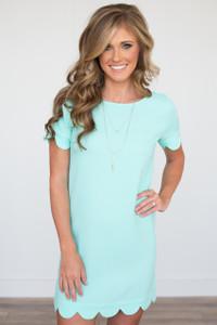 It Girl Scallop Trim Short Sleeve Dress - Mint - FINAL SALE