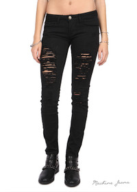 Mid Rise Skinny Distressed Jeans - Black - FINAL SALE