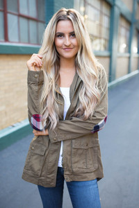 Plaid Patch Army Jacket - Olive
