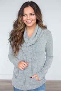 Chloe Cowl Neck Sweatshirt - Heather Grey