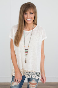 Heathered Crochet Lace Trim Tee - Ivory
