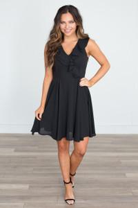 Sleeveless Ruffle Lace Up Dress - Black - FINAL SALE