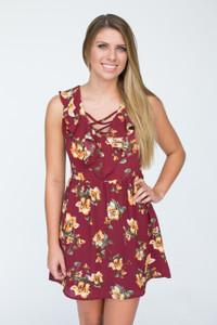 Ruffle Floral Sleeveless Dress - Burgundy - FINAL SALE