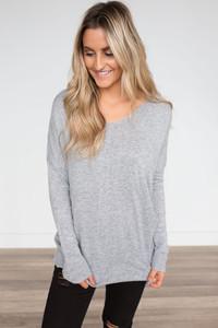 Long Sleeve V-Neck Sweater - Grey