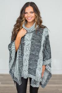 Elan Two Tone Sweater Poncho - Black/Grey - FINAL SALE