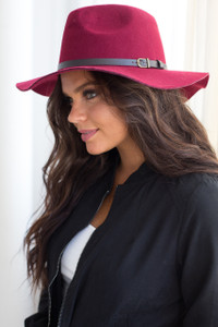 Small Brim Belted Boho Hat - Burgundy - FINAL SALE