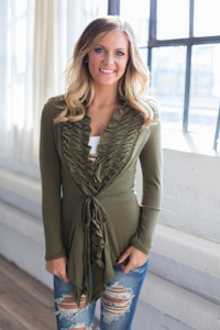 Stop the Presses Tie Front Cardigan - Olive