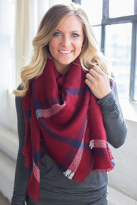 Plaid Blanket Scarf - Red/Navy/White - FINAL SALE