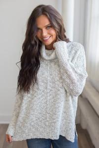 Two Tone Knit Dolman Sweater - Stone