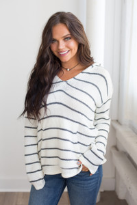 Striped Hooded Pocket Sweater - Ivory/Grey