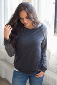 Contrast Sleeve Pullover Top - Charcoal