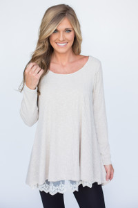 Ribbed Lace Trim Tunic - Beige