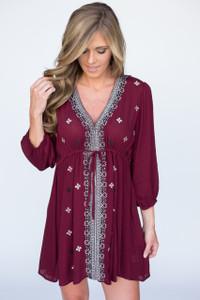 Stargazer Embroidered Tunic Dress - Burgundy