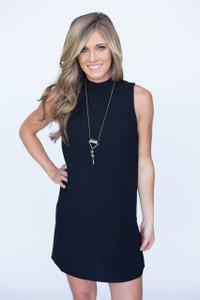 Mock Neck Solid Woven Dress - Black