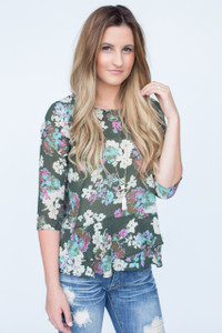 Everly Floral Ruffle Hem Blouse - Olive