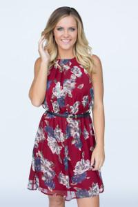 Belted Floral Print Dress - Wine