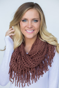 Falling for Fringe Infinity Scarf - Chocolate - FINAL SALE