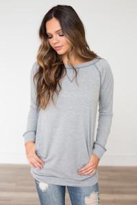 Contrast Stitch Sweatshirt Tunic - Heather Grey