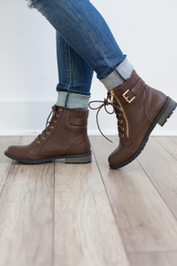 Mountain Trail Sweater Combat Boots - Brown - FINAL SALE