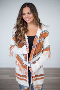 Hooded Knit Fringe Cardigan - Ivory/Rust- FINAL SALE