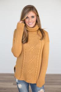 Cable Knit Turtleneck Sweater - Caramel  - FINAL SALE