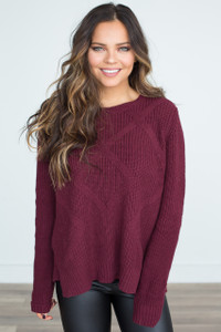 Tie Back Cable Knit Sweater - Burgundy - FINAL SALE